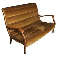 Mid Century Sofa by Ezio Longhi for Elam Velvet Wood Italian Design, 1958