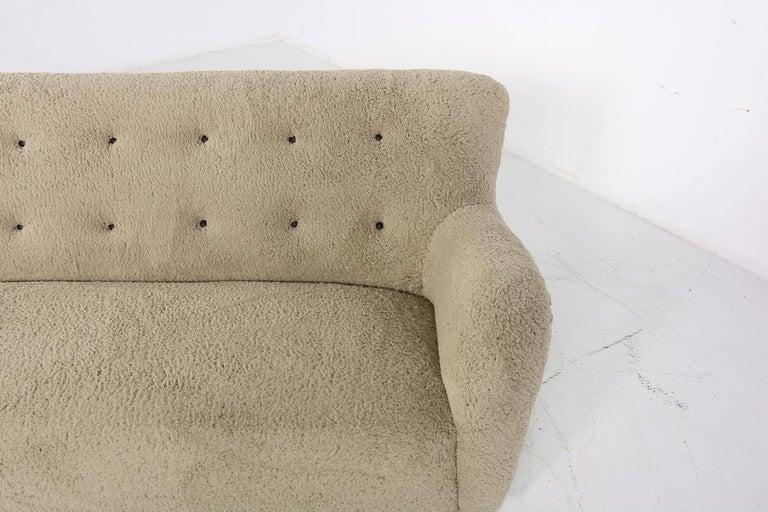 Mid-Century Modern Midcentury Sofa, Denmark 1950s, Teddy Fur & Tufted Leather, Mogens Lassen Style For Sale