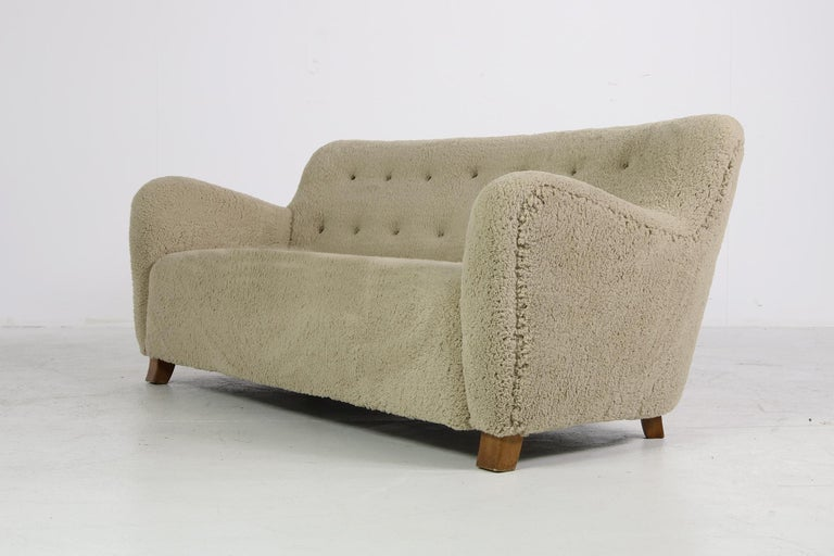 Danish Midcentury Sofa, Denmark 1950s, Teddy Fur & Tufted Leather, Mogens Lassen Style For Sale