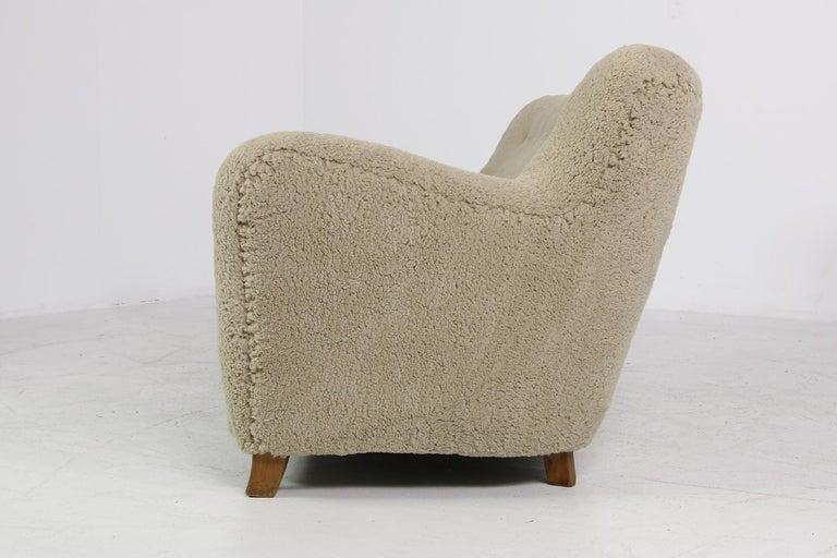 Mid-20th Century Midcentury Sofa, Denmark 1950s, Teddy Fur & Tufted Leather, Mogens Lassen Style For Sale