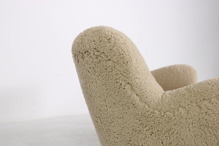 Midcentury Sofa, Denmark 1950s, Teddy Fur & Tufted Leather, Mogens Lassen Style For Sale 1