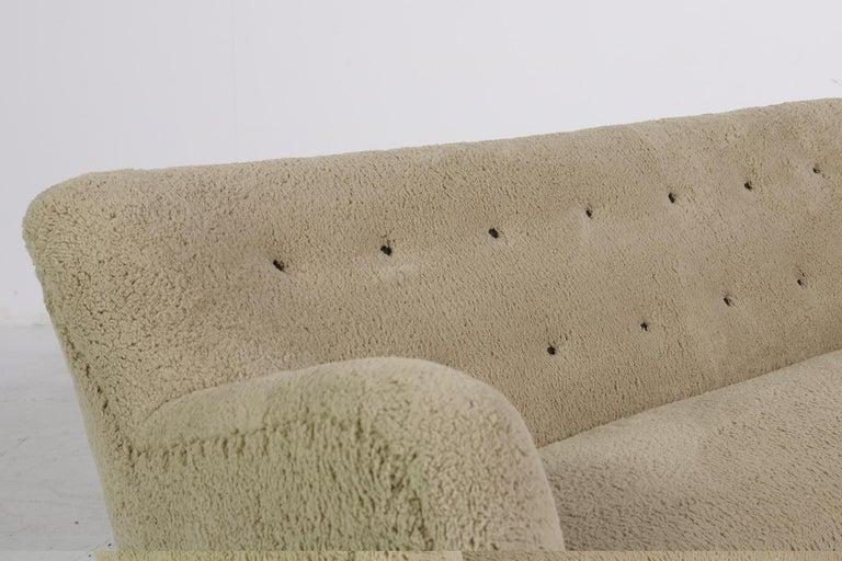 Midcentury Sofa, Denmark 1950s, Teddy Fur & Tufted Leather, Mogens Lassen Style For Sale 2