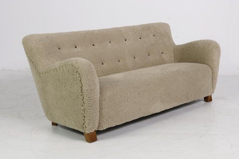 Midcentury Sofa, Denmark 1950s, Teddy Fur & Tufted Leather, Mogens Lassen Style For Sale 3