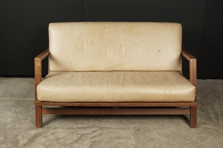 Vintage midcentury Bas Van Pelt sofa from Holland, circa 1960. Later light tan leather upholstery. Label underneath.