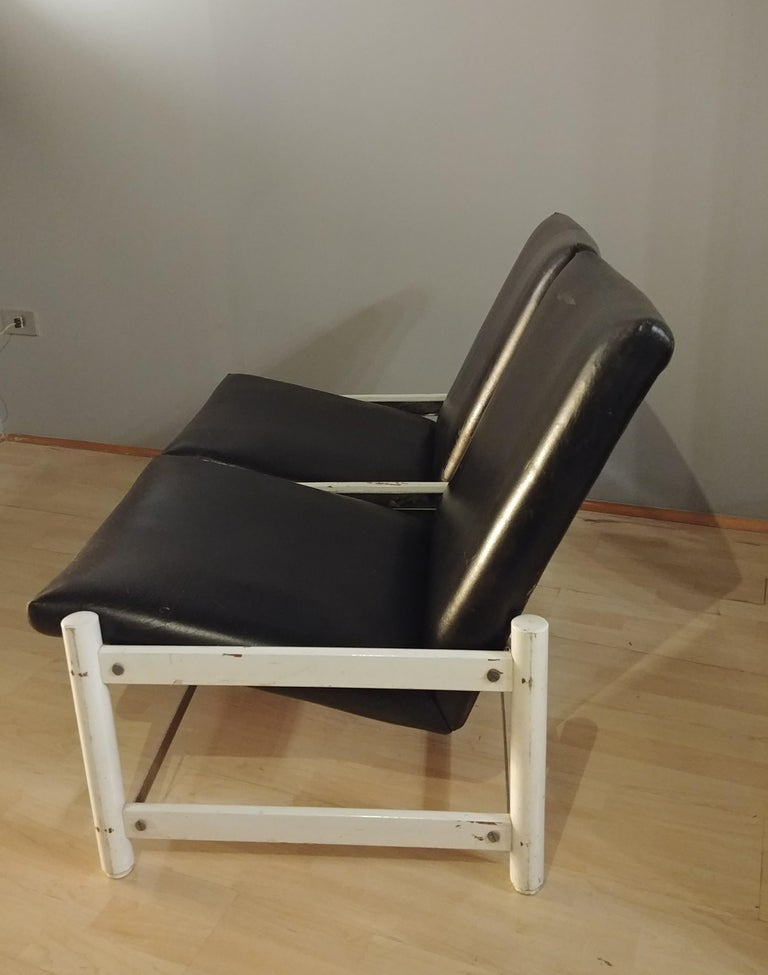Mid-Century Modern Mid Century Sofa Black Leather Metal by Dal Vera 2-Seat Italian Design 1950s For Sale