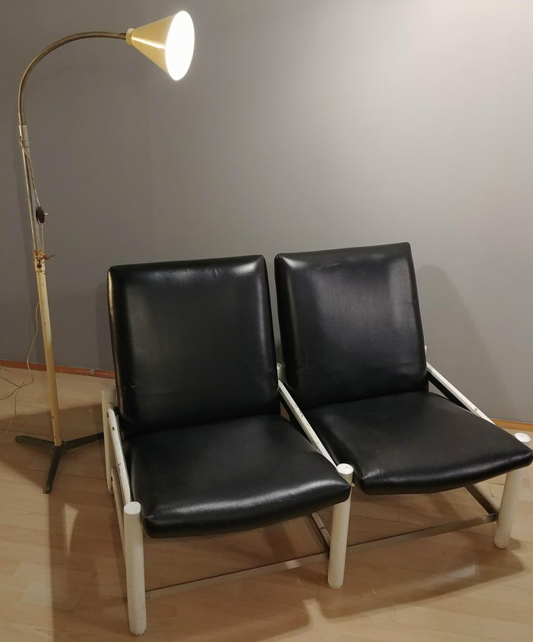 Mid Century Sofa Black Leather Metal by Dal Vera 2-Seat Italian Design 1950s In Good Condition For Sale In Palermo, IT