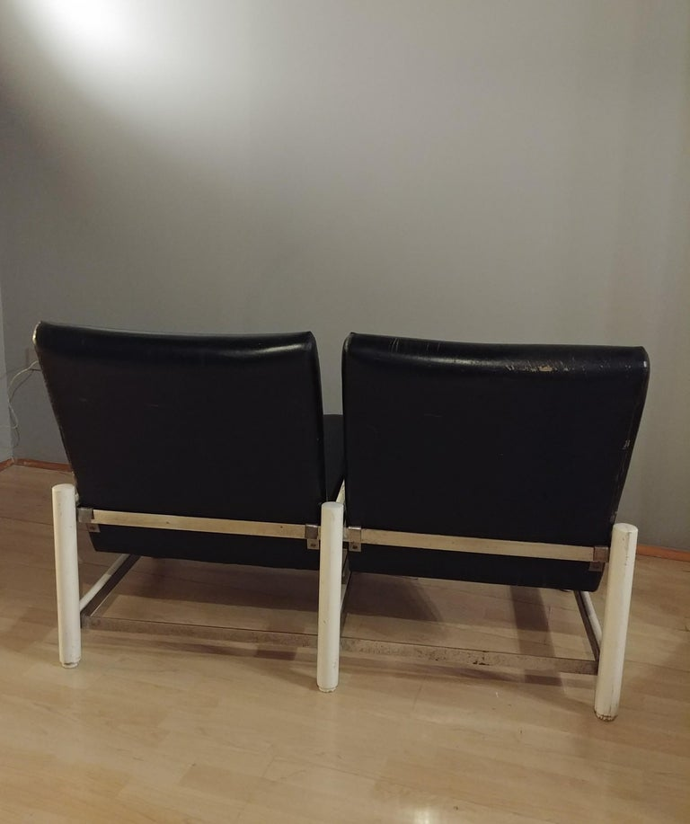 Mid Century Sofa Black Leather Metal by Dal Vera 2-Seat Italian Design 1950s For Sale 1