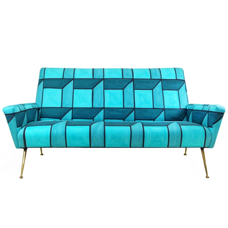 Mid-Century Italian brass leg sofa in the style of Gio Ponti, upholstered in hand-painted blue cube fabric by Livio de Simone, Italy, 1950s-2015.