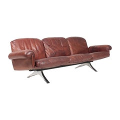 Midcentury Sofa in Patinated Leather by De Sede, 1960s