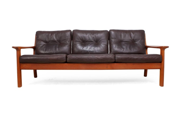 Mid 20th Century Midcentury Sofa In Teak And Leather By Glostrop For