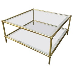 Midcentury Sofa Table in Brass and Glass, Italian Design, 1960s