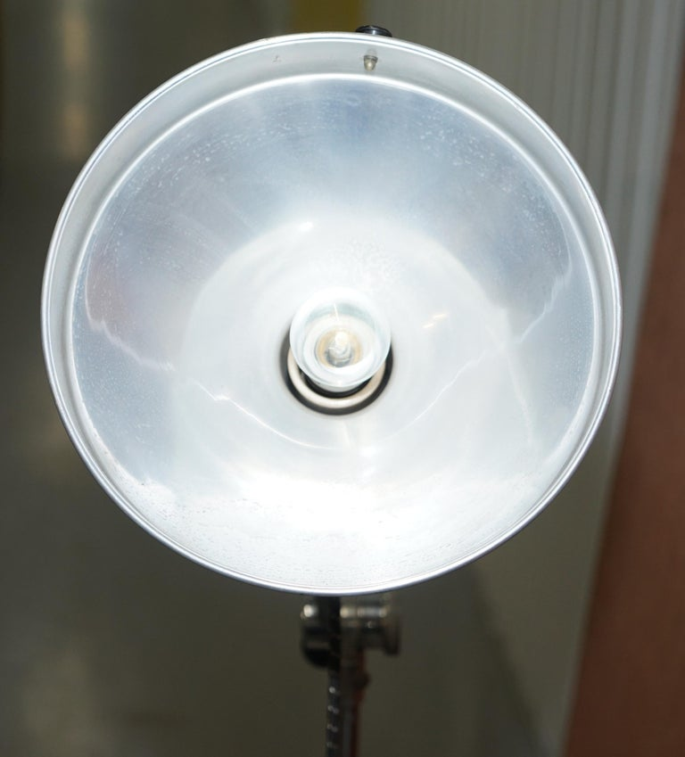 Midcentury Sol-Tan Industrial Articulated Floor Lamp and Original Heating Bulb For Sale 5