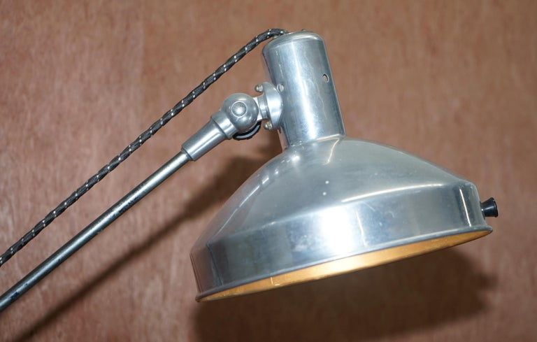 Mid-Century Modern Midcentury Sol-Tan Industrial Articulated Floor Lamp and Original Heating Bulb For Sale