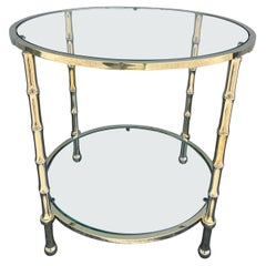 Mid Century Solid Brass Faux Bamboo Two Tier Side Table