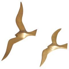 Mid Century Solid Brass Seagulls in Flight Wall Sculpture. Austria, Circa 1950