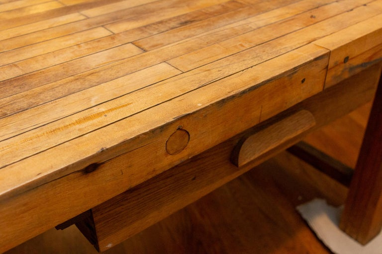 Midcentury Solid Wood Butcher Block Work Table with Storage For Sale 5