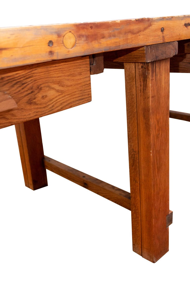Midcentury Solid Wood Butcher Block Work Table with Storage For Sale 10