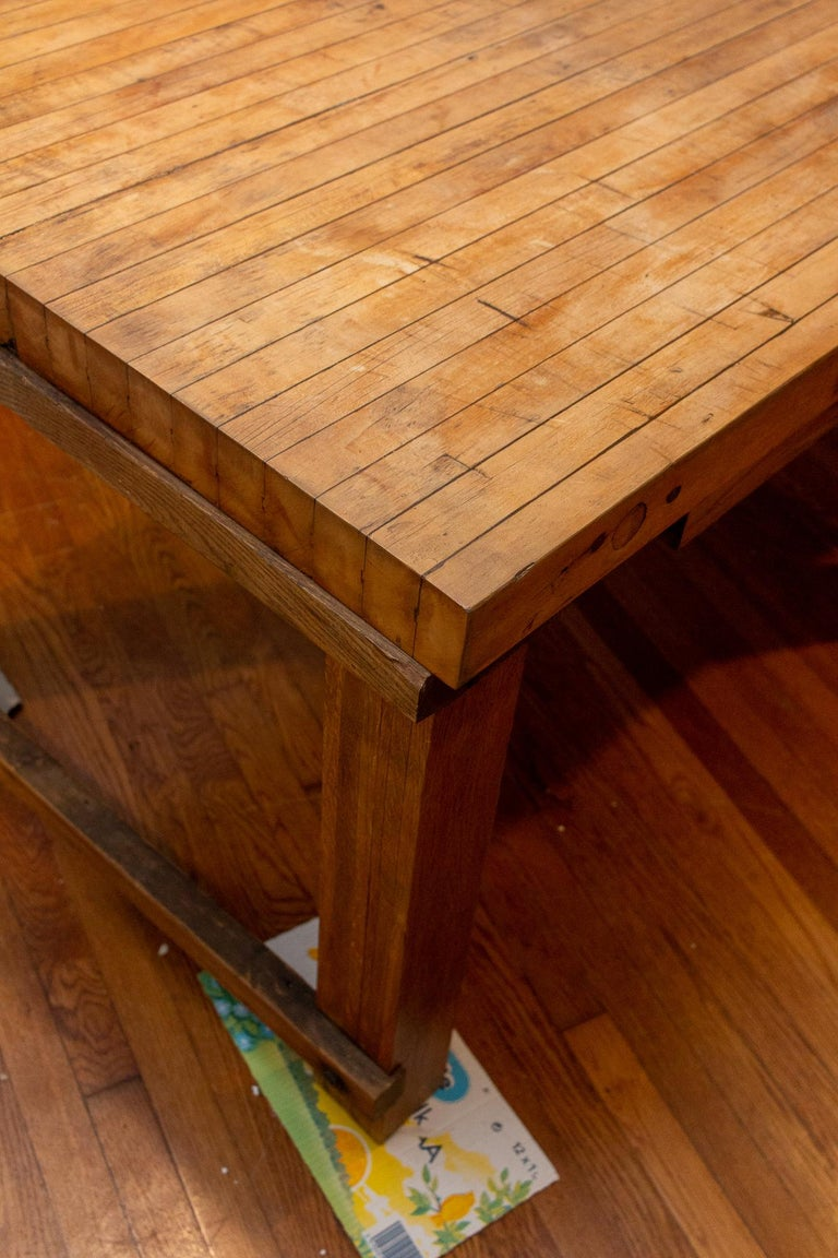 Midcentury Solid Wood Butcher Block Work Table with Storage For Sale 11