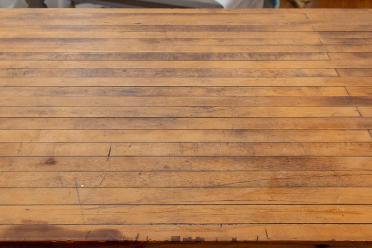 Mid-20th Century Midcentury Solid Wood Butcher Block Work Table with Storage For Sale