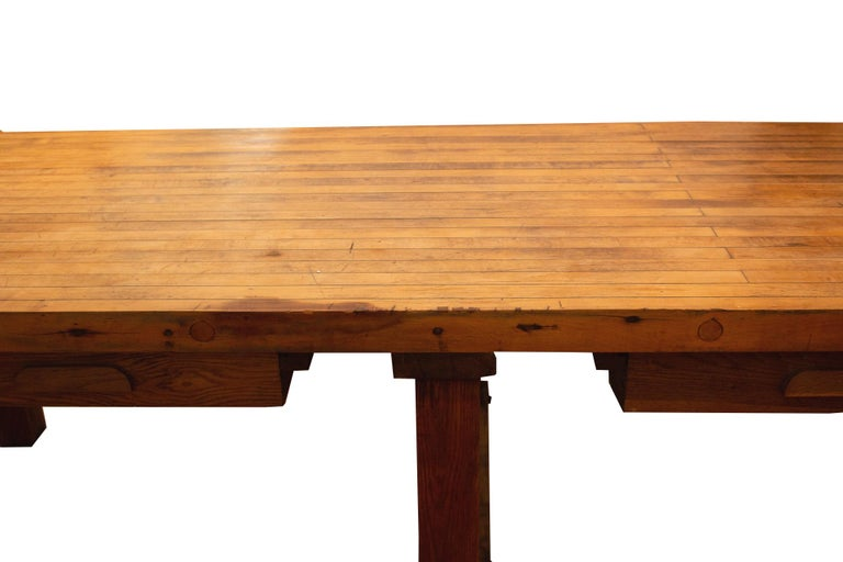 Midcentury Solid Wood Butcher Block Work Table with Storage For Sale 2