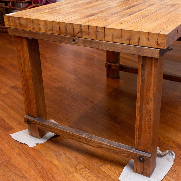 Midcentury Solid Wood Butcher Block Work Table with Storage For Sale 3