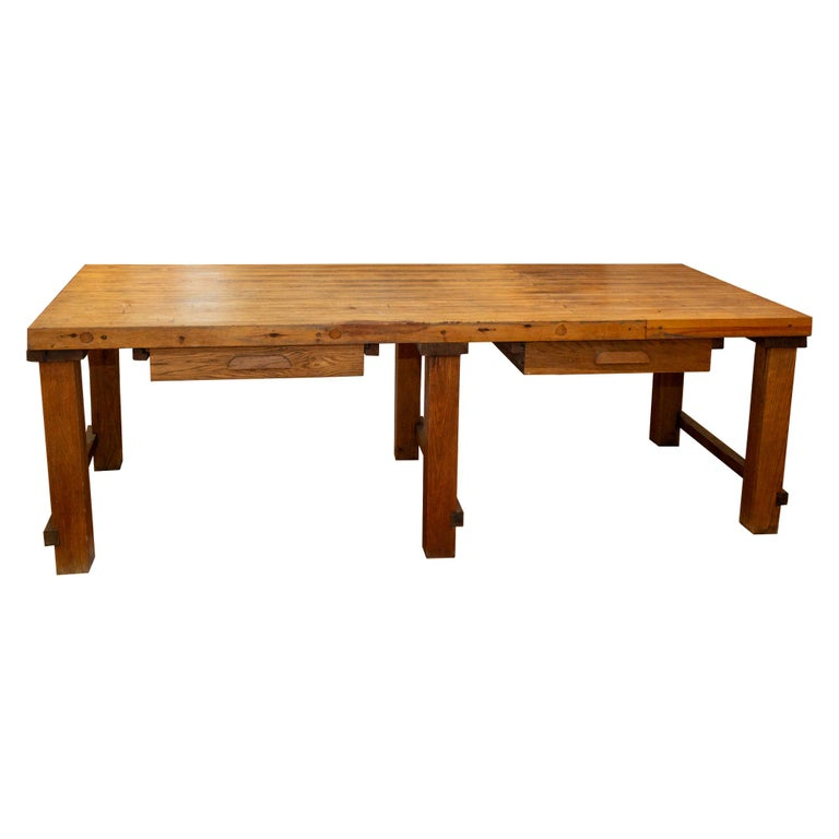 Midcentury Solid Wood Butcher Block Work Table with Storage For Sale