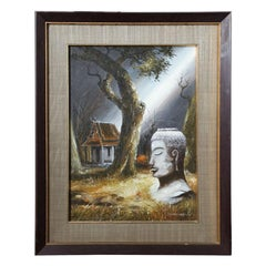 Mid Century Soothing Reflective Buddha Painting