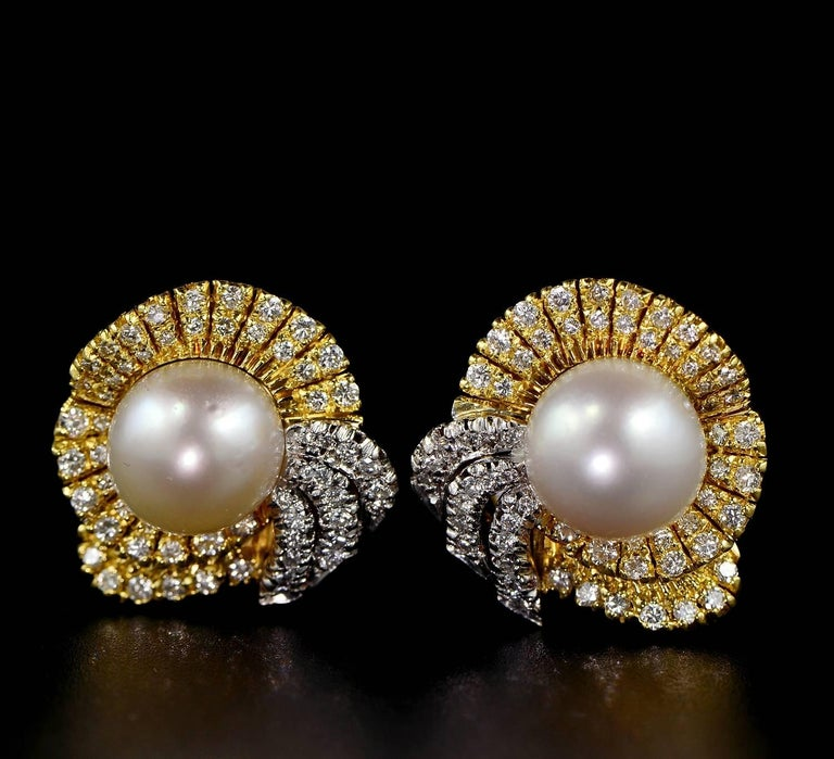 Midcentury South Sea Pearl Diamond Bow Earrings For Extremely Well Hand Crafted Of Good Gauge Solid 18 Kt Gold 1950 Ca Italian