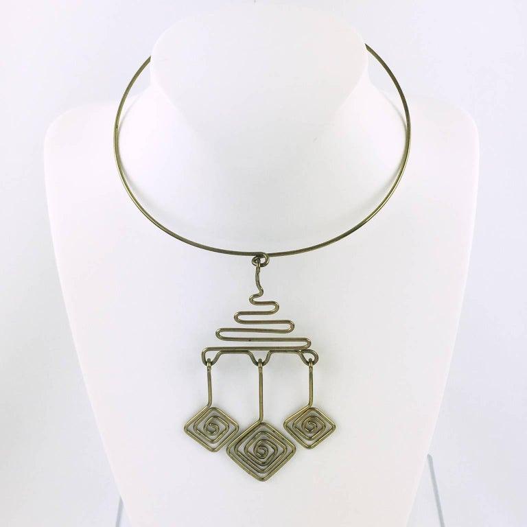 Mid Century Space Age Brass Modernist Wire Dog Collar Multi Pendant ...