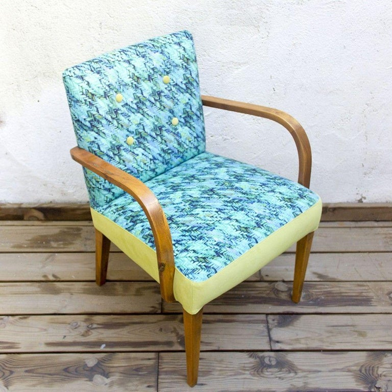 Midcentury Spanish Armchair In Blue and Green Herringbone ...