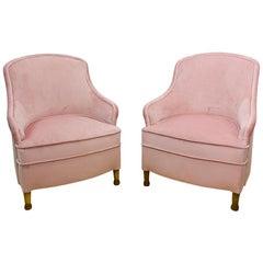 Midcentury Spanish Club Chair in Antique Pink Velvet