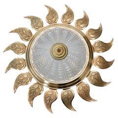 Mid-Century Spanish Gilt Iron Sunburst Wall Light Flush Mount Ceiling Light
