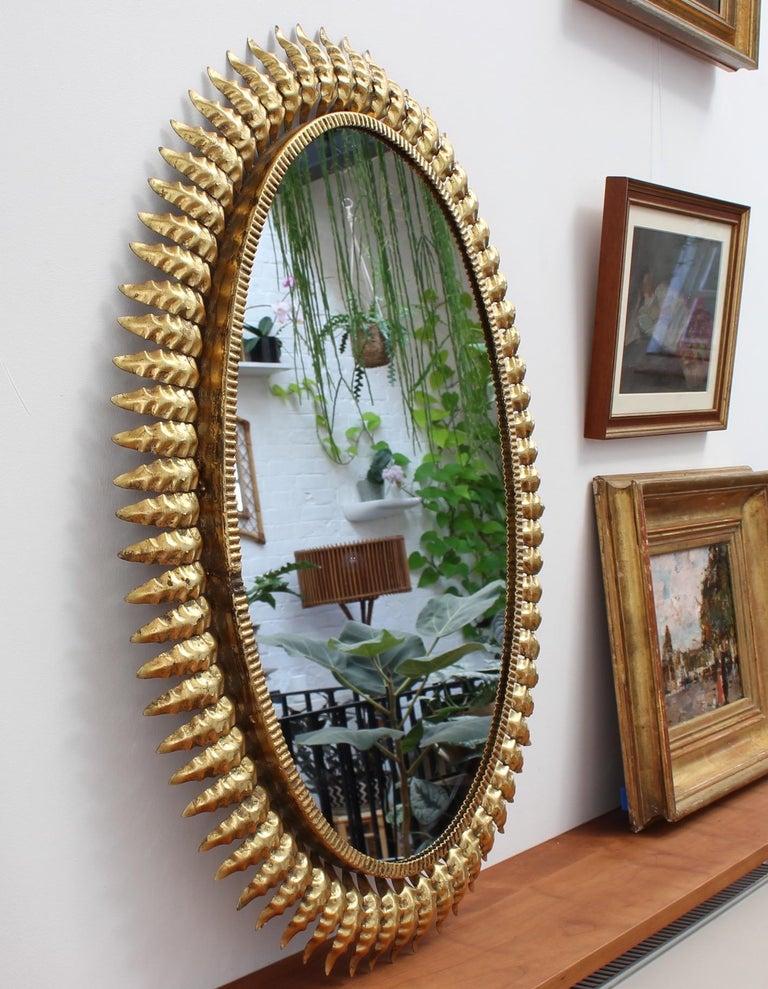 Mid-Century Spanish Gilt Metal Sunburst Mirror (c. 1950s ...