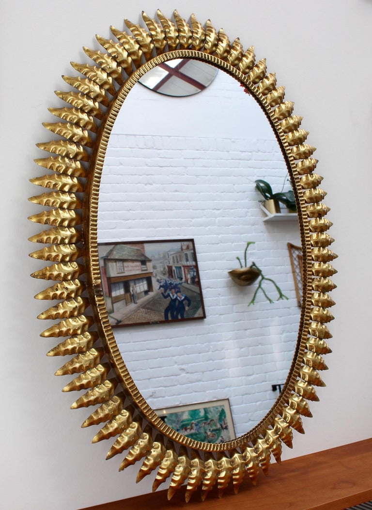 Mid-Century Spanish Gilt Metal Sunburst Mirror (c. 1950s) In Good Condition For Sale In London, GB