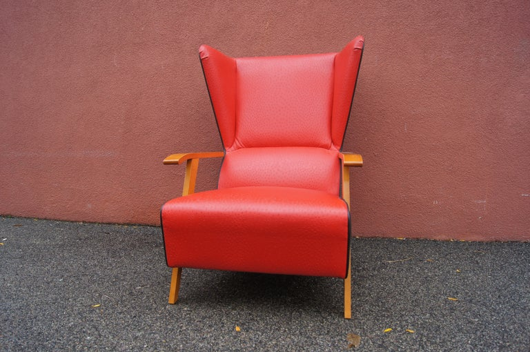 Midcentury Spanish High-Back Leather Lounge Chair In Good Condition For Sale In Boston, MA
