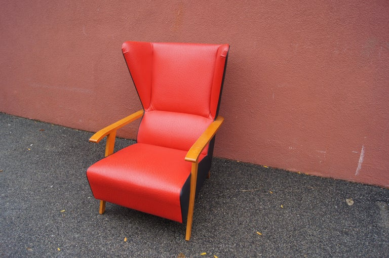 Mid-20th Century Midcentury Spanish High-Back Leather Lounge Chair For Sale