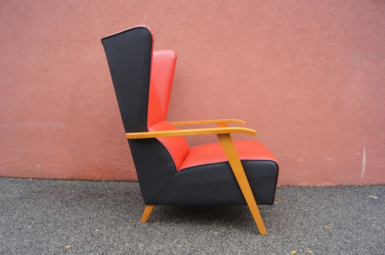 Midcentury Spanish High-Back Leather Lounge Chair For Sale 1