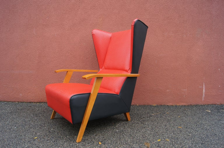 Midcentury Spanish High-Back Leather Lounge Chair For Sale 2