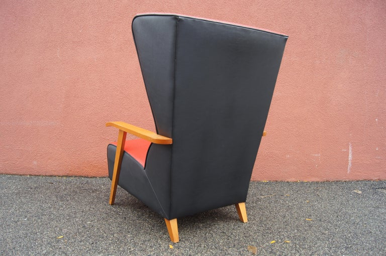 Midcentury Spanish High-Back Leather Lounge Chair For Sale 3
