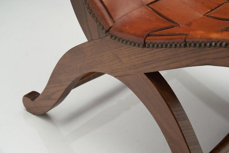 Mid-Century Spanish Valenti Leather Chair by Pierre Lottier, Spain, 1950s For Sale 8