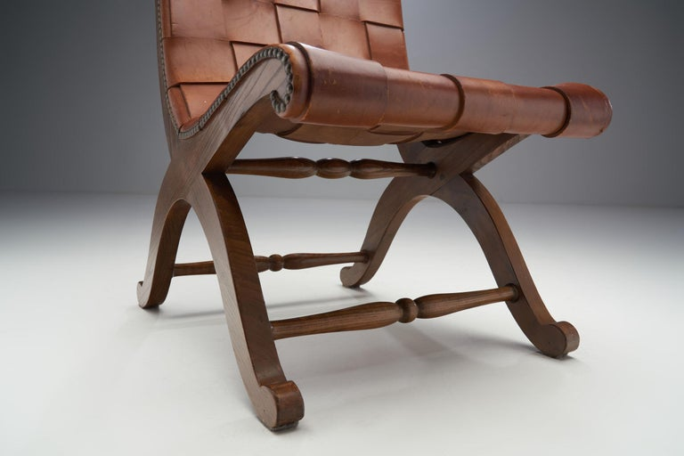 Mid-Century Spanish Valenti Leather Chair by Pierre Lottier, Spain, 1950s For Sale 9