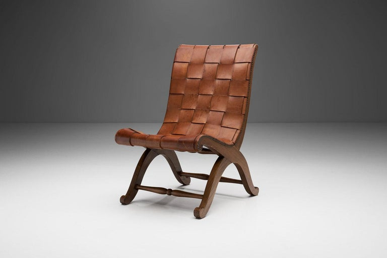 Mid-Century Modern Mid-Century Spanish Valenti Leather Chair by Pierre Lottier, Spain, 1950s For Sale