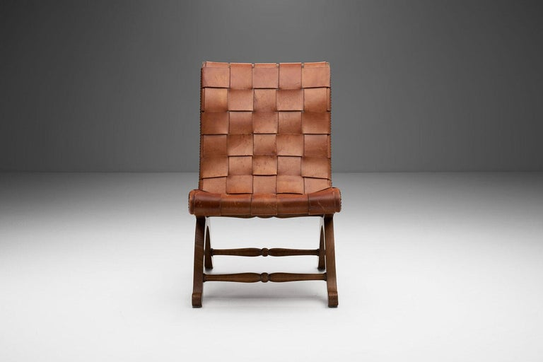 Woven Mid-Century Spanish Valenti Leather Chair by Pierre Lottier, Spain, 1950s For Sale