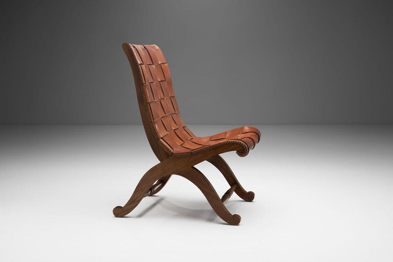 Mid-Century Spanish Valenti Leather Chair by Pierre Lottier, Spain, 1950s In Good Condition For Sale In Utrecht, NL