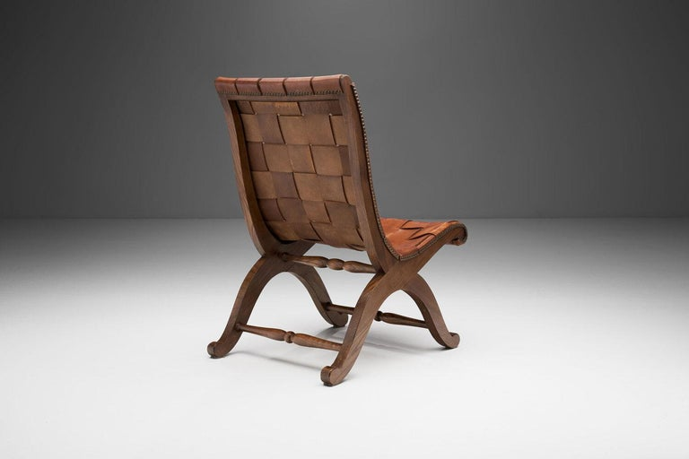 20th Century Mid-Century Spanish Valenti Leather Chair by Pierre Lottier, Spain, 1950s For Sale