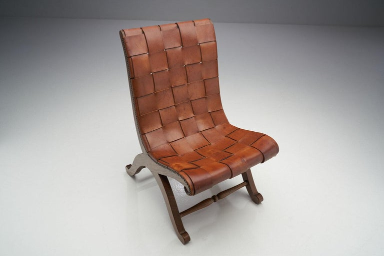 Mid-Century Spanish Valenti Leather Chair by Pierre Lottier, Spain, 1950s For Sale 1