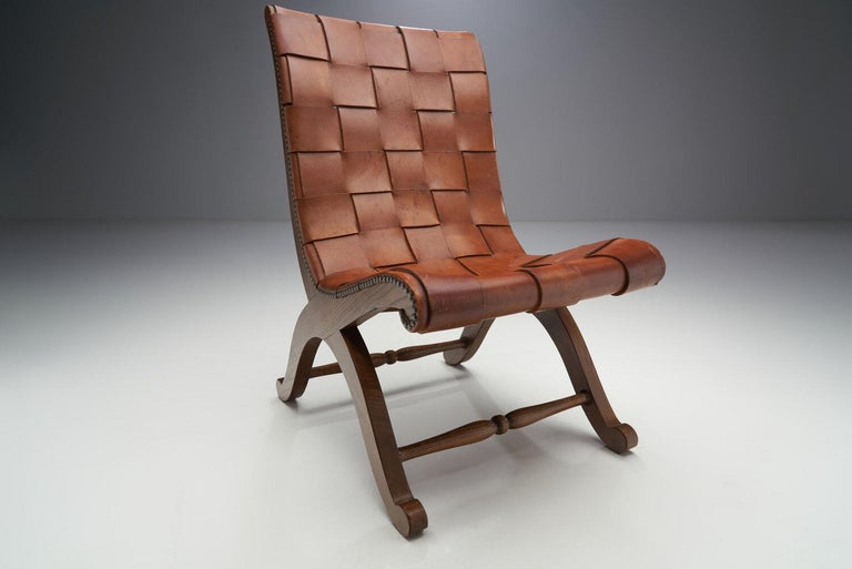 Mid-Century Spanish Valenti Leather Chair by Pierre Lottier, Spain, 1950s For Sale 2