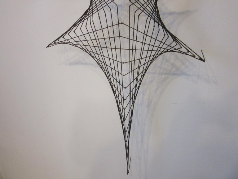 Mid-Century Modern Midcentury Spider Web Metal Wire Wall Sculpture in the Style of Bertoia For Sale
