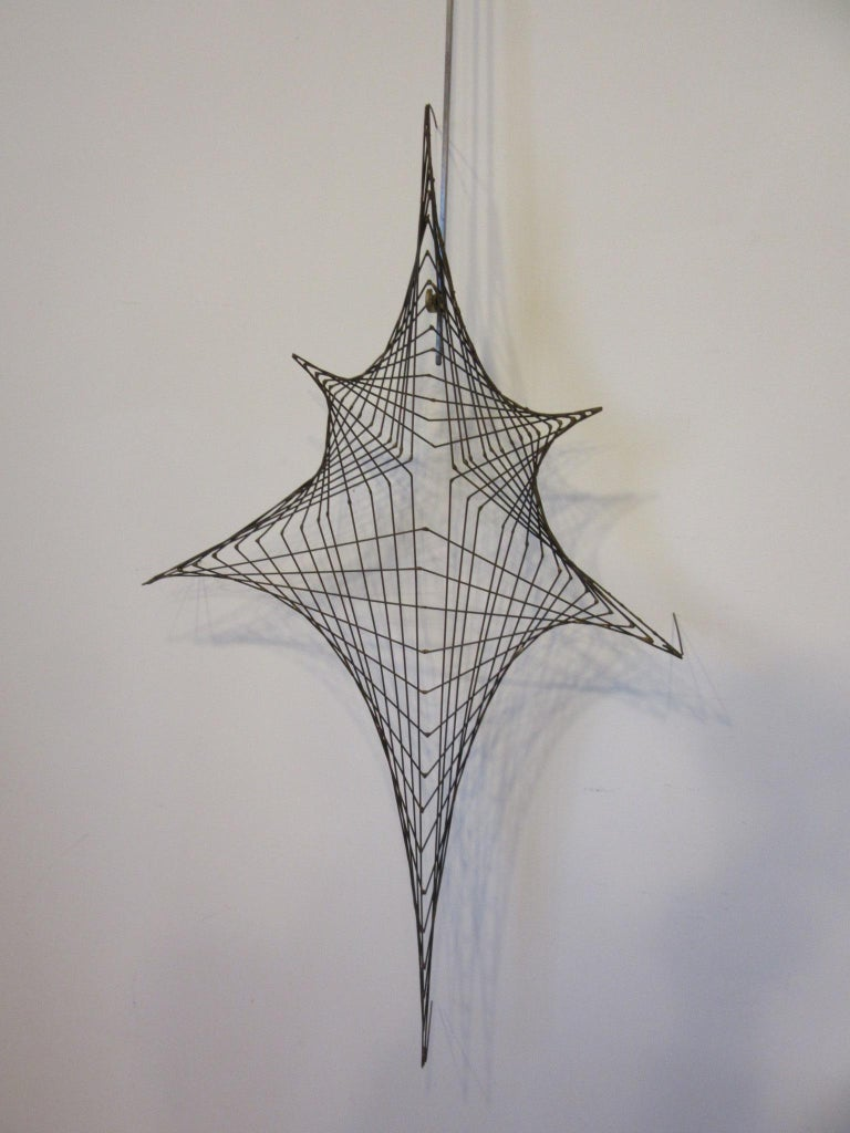 American Midcentury Spider Web Metal Wire Wall Sculpture in the Style of Bertoia For Sale