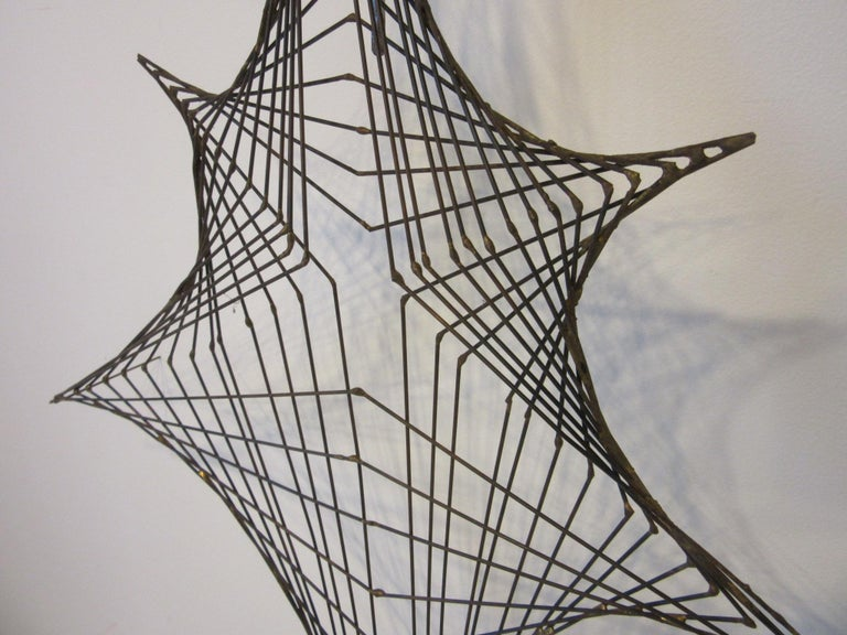 Midcentury Spider Web Metal Wire Wall Sculpture in the Style of Bertoia In Good Condition For Sale In Cincinnati, OH